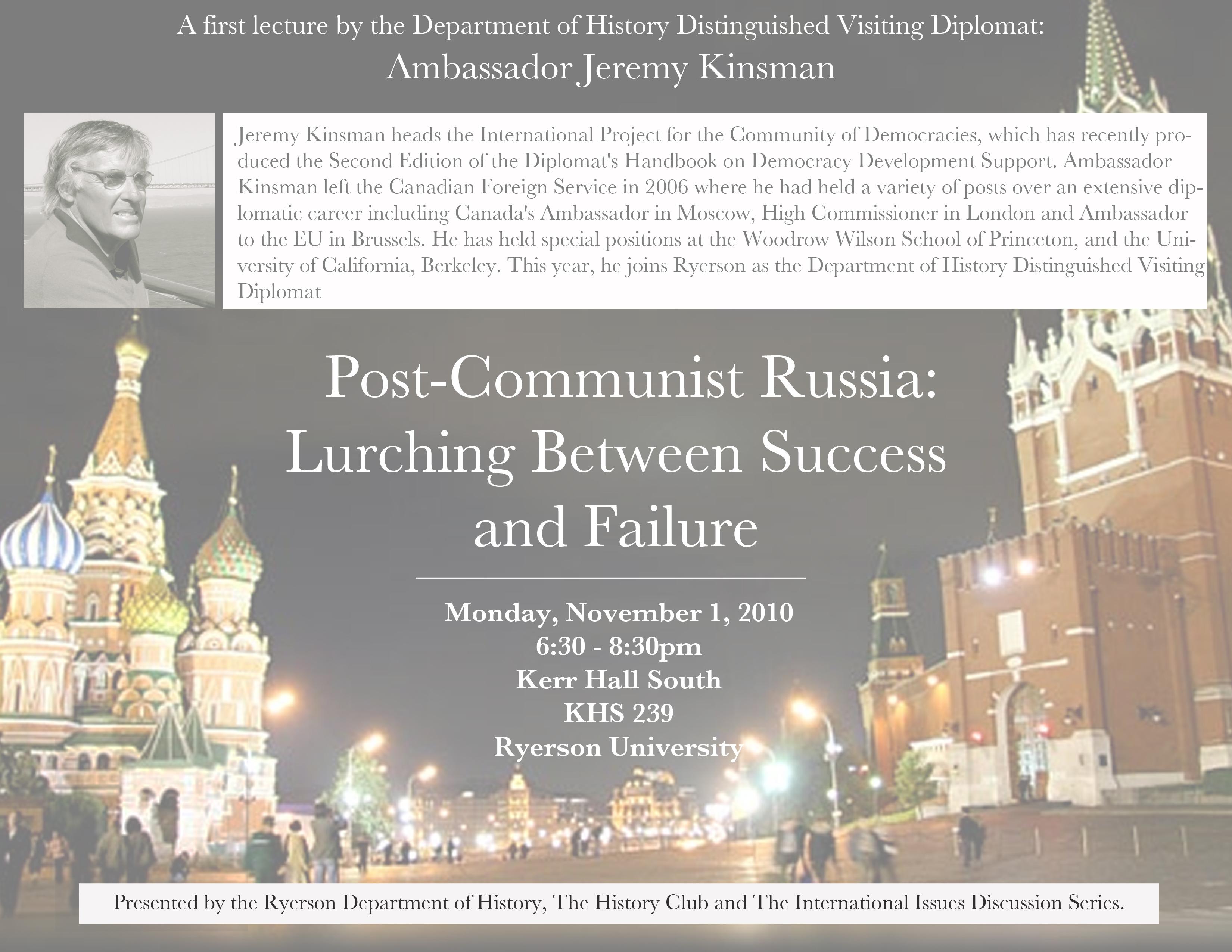 Ambassador Jeremy Kinsman, Mon. November 1