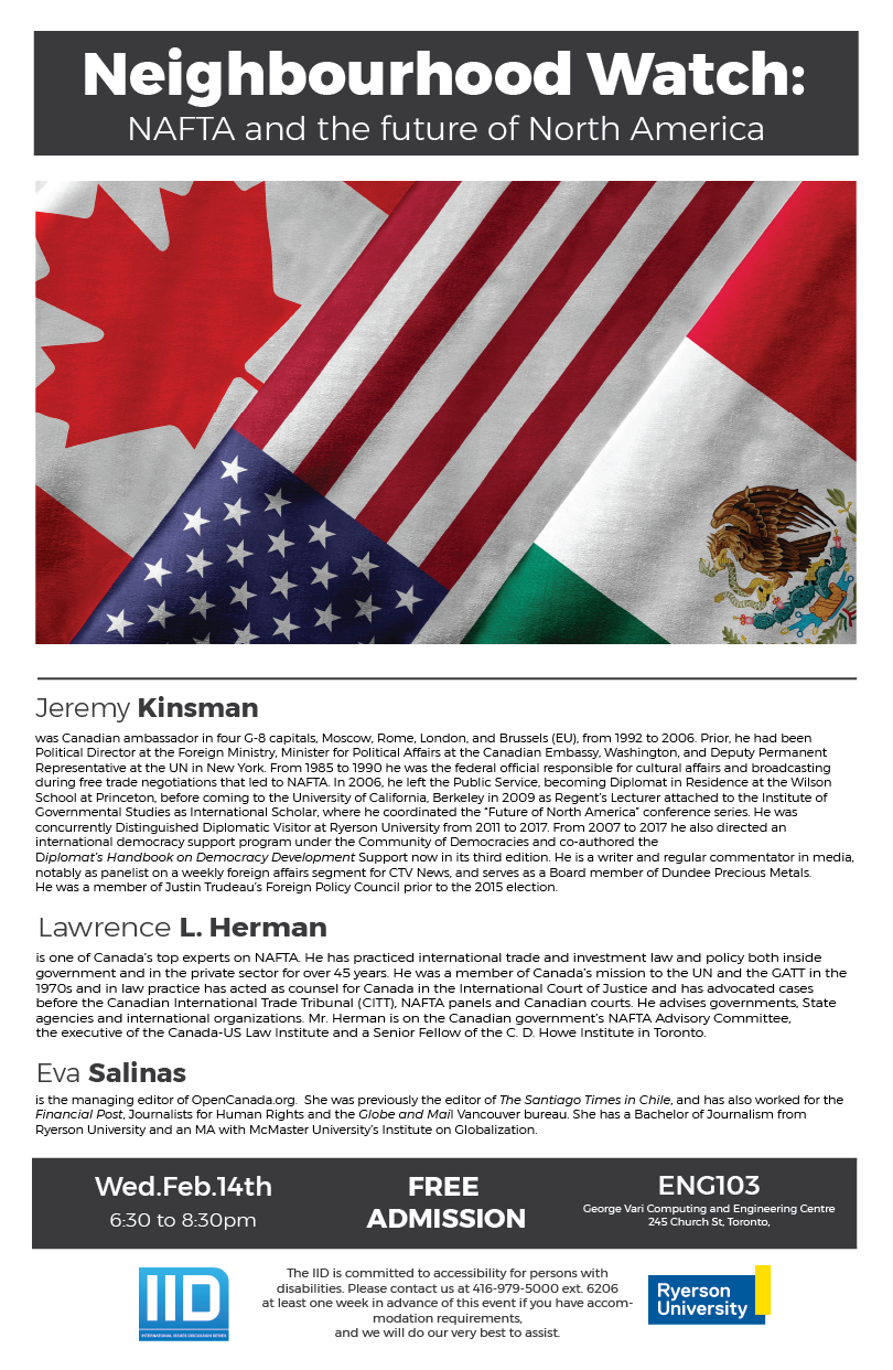 Neighbourhood Watch: NAFTA and the Future of North America – Wednesday, February 14, 2018