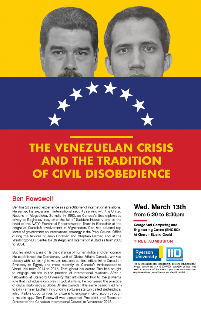 The Venezuelan Crisis and the Tradition of Civil Disobedience – Wednesday, March 13, 2019.