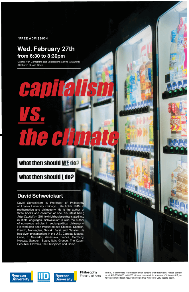 Capitalism vs. The Climate: What Then Should We Do? What Then Should I Do? – Wednesday, February 27, 2019.
