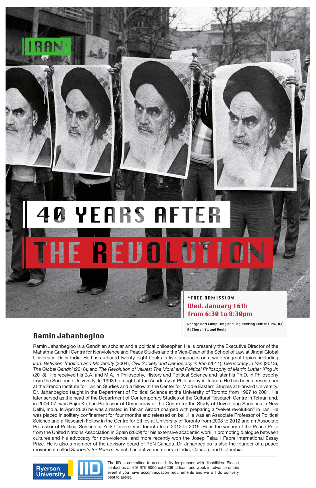 Iran: 40 Years After the Revolution – Wednesday, January 16, 2019.